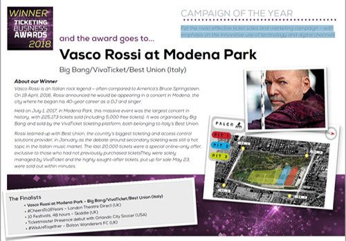 MODENA PARK VINCE THE TICKETING BUSINESS AWARD